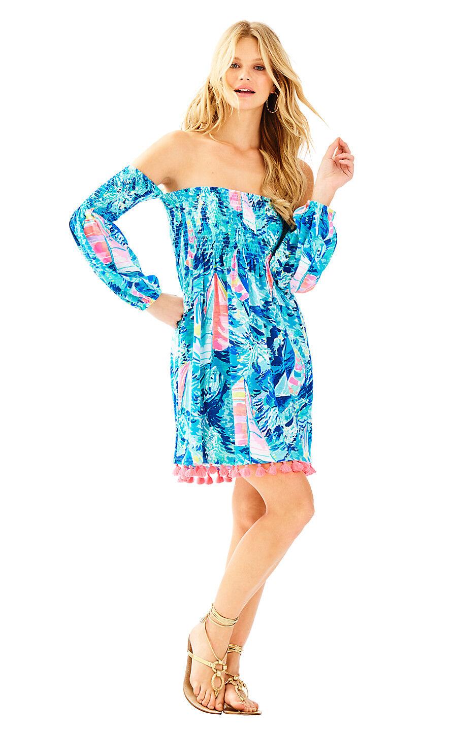 NWT  Lilly Pulitzer Trina Beach Dress Sparkling bluee Hey Bay Bay SMALL