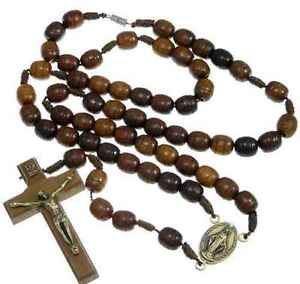Wooden Rosary Beads With Miraculous Medal Junction