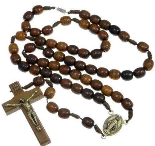 Wooden Rosary Beads with Miraculous Medal Junction /& Fastener UK seller
