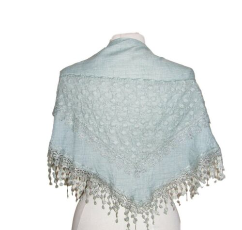 Beautiful embroidered triangle scarf with tassels VARIOUS DESIGNS COLOURS