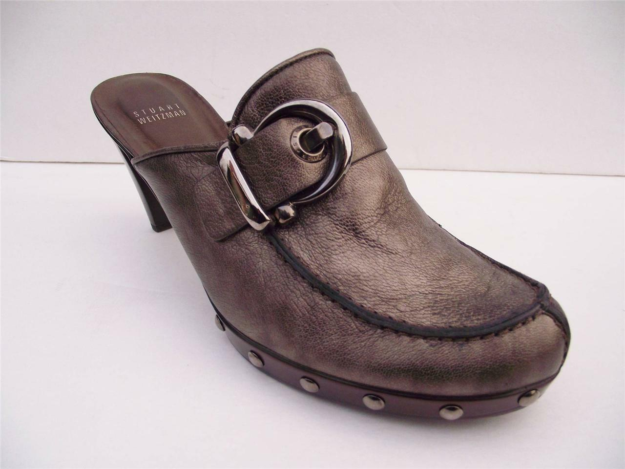 Stuart Weitzman Pewter M Leather Clogs Buckle and Studs 10 M Pewter ad76c6