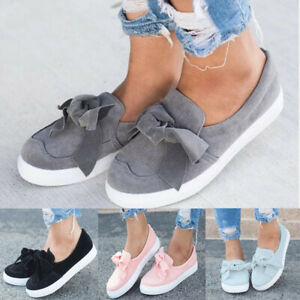 Fashiong-Loafers-Women-039-s-Comfy-Round-Toe-Bowknot-Slip-On-Flats-Soft-Casual-Shoes