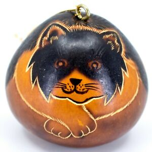 Handcrafted-Carved-Gourd-Art-Long-Hair-Cat-Kitten-Kitty-Ornament-Made-in-Peru