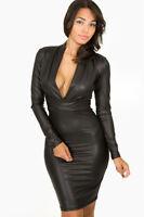 BLACK PLUNGING MINI DRESS BODYCON FAUX PVC LEATHER LOOK CLUBWEAR SIZE 10 & 12