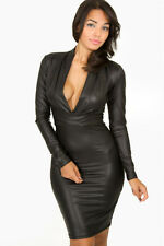 BLACK PLUNGING MINI DRESS BODYCON FAUX PVC LEATHER LOOK CLUBWEAR SIZE 10 & 12