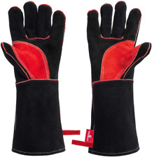 Welding Gloves Fireproof Heat Resistant Safety Protective Equipment Black Pair