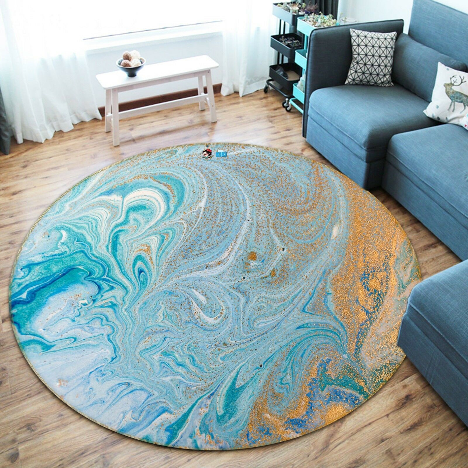 3D Texture Painting 54 Non Slip Rug Room Mat Round Quality Elegant Photo Carpet