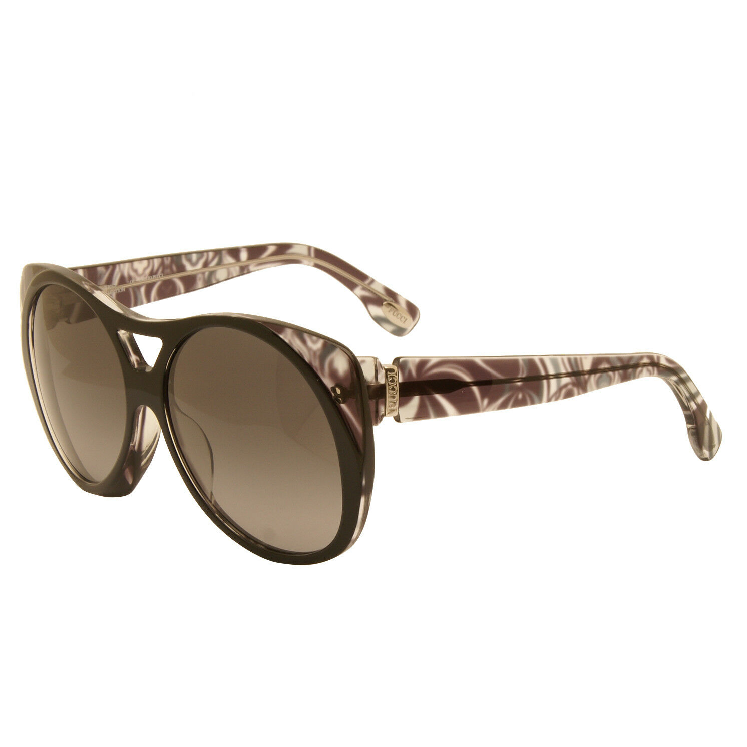 Emilio Pucci - Black and Grey Print Round Oversized Style Sunglasses with Case