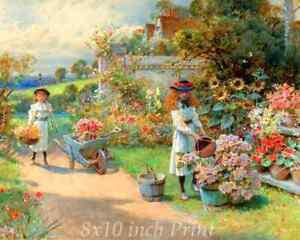 Girls River Country Life Work Art 177 Water Carriers by D R Knight 8x10 Print