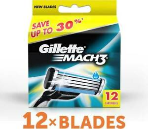 Gillette-Mach3-Pack-Of-12-Cartridges-Men-039-s-Shaving-Blades-For-Razor-New-Mach-3