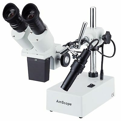 20X & 40X Widefield Stereo Microscope with Boom Arm Stand and Incident Light