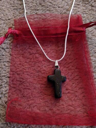 Negro Plata De Piedras Preciosas Cruz Goldstone Cadena Colgante Collar UK