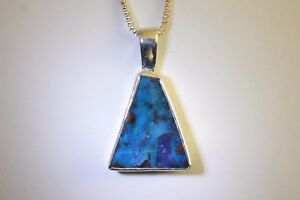 e1c5d389090ee0 Blue & Green Solid Boulder Opal Necklace Set in 100% Sterling Silver ...