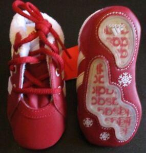 Adidas Babyschuhe Rot Weiß Gr. 18 Anti Rutschsohle +