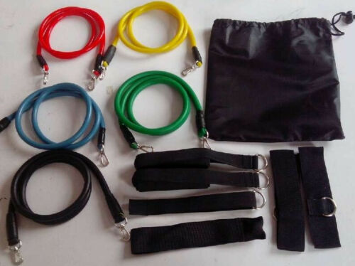 12 pcs High Quality Natural Rubber Latex Resistance Bands, 5 Resistance Levels