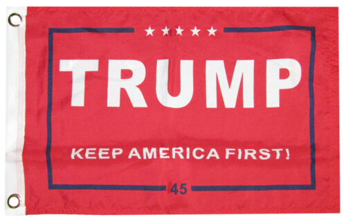 """12x18 Trump Keep America First Red 45 100D Woven Poly Nylon 12/""""x18/"""" Flag"""