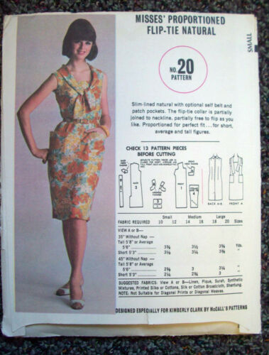 1960's? Womens fliptie natural dress pattern 20 size 1012 KimberlyClark