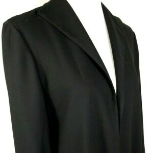 Eileen Fisher Womens Open Front Blazer Size M Medium Black 100% Wool Fully Lined