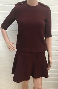 Mutig Bnwt Zara Woman Co Ord Outfit Blouse Top & Flare Skirt Xs Burgundy Modische Muster