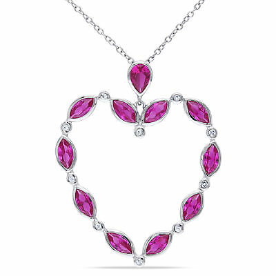 Amour Sterling Silver Created Ruby and White Topaz Heart Necklace
