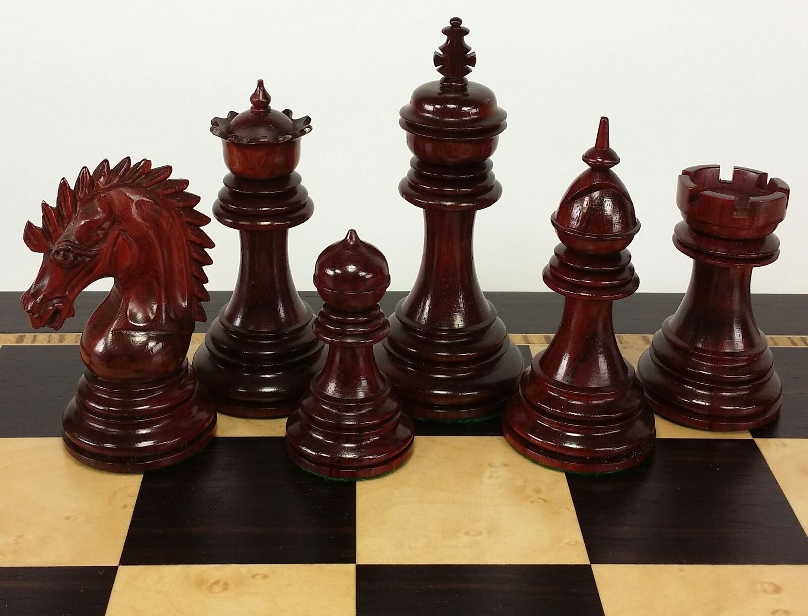 Blood ROSEWOOD Spiked Hair Knight 4 3/8  King Large Staunton Chess Uomo Set NO BD