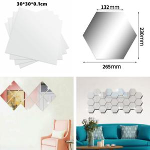 24pcs Extra Large Mirror Tile Wall Sticker Self Adhesive Room Decor Stick On Art