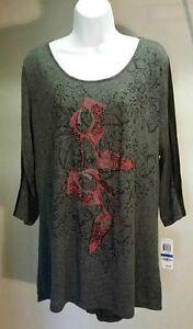 NWT-39-Style-amp-co-Women-039-s-Gray-Print-Elegant-Shoe-3-4-Sleeve-Top-Blouse-Size-XL