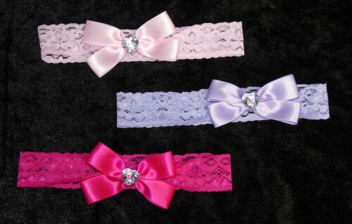 3er Set Haarband Stirnband Haarschmuck Baby Kopfband Blume Schleife Glitzerstein