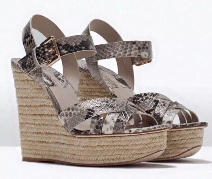 ZARA Plateau Wedges Pumps Keilabsatz Sandale Pantolette 36 Python grau weiß