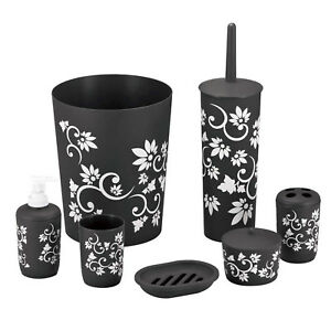7-Piece Bathroom Accessories Bath Set Complete Kit Black Purple Durable Plastic