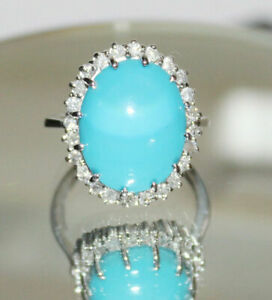 2-00-Carat-Oval-Cut-TURQUOISE-amp-Diamond-Ring-14K-White-Gold-Over-Ring-Band