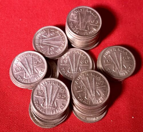 Many Years Available 1957 Australian Three Pence Coin 50 /%Silver In Case 1 Coin