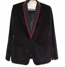 Dolce & Gabbana Black Red Lining Men's Velvet Blazer Jacket Sz US 42 EU 52 $995