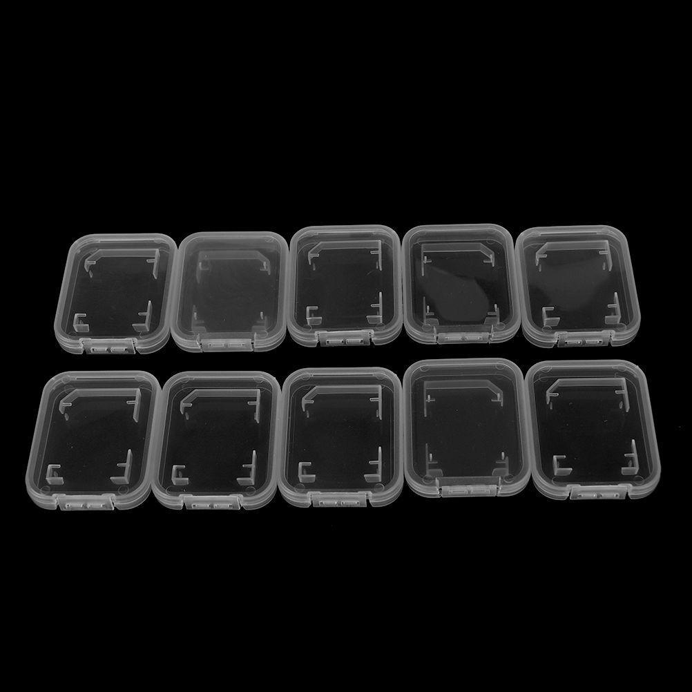10Pcs Transparent Standard SD/SDHC Memory Card Case Holder Box Storage PlasY JQ