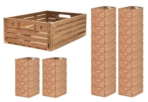 Apfelkiste Obstkiste Gemüsekiste Klappbox Holzoptik 600 x 400 x 218 mm Gastlando