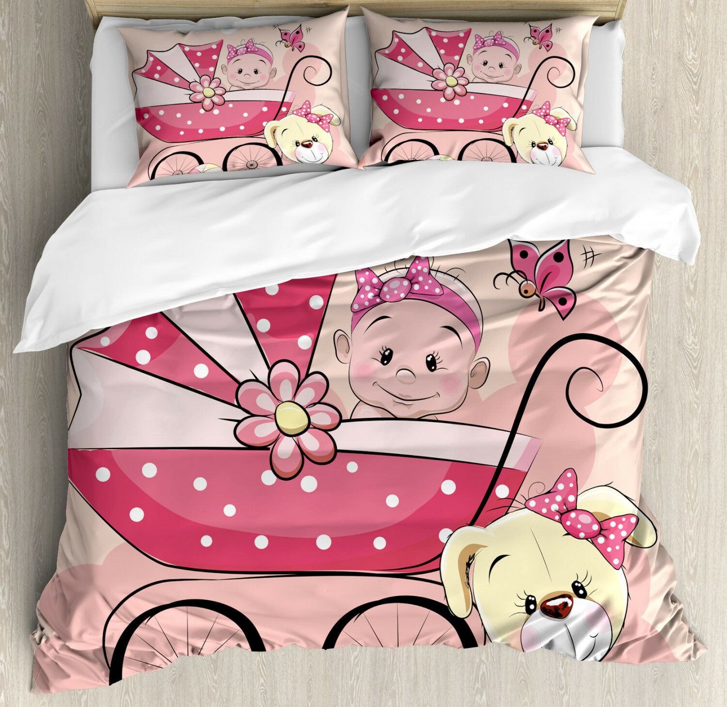 Gender Reveal Duvet Cover Set with Pillow Shams Puppy Carriage Print