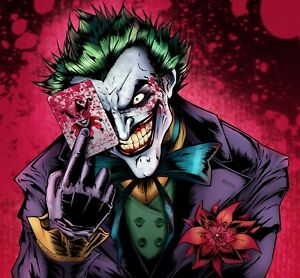 The joker dc comics villain cartoon playing card red wall art canvas image is loading the joker dc comics villain cartoon playing card voltagebd Images
