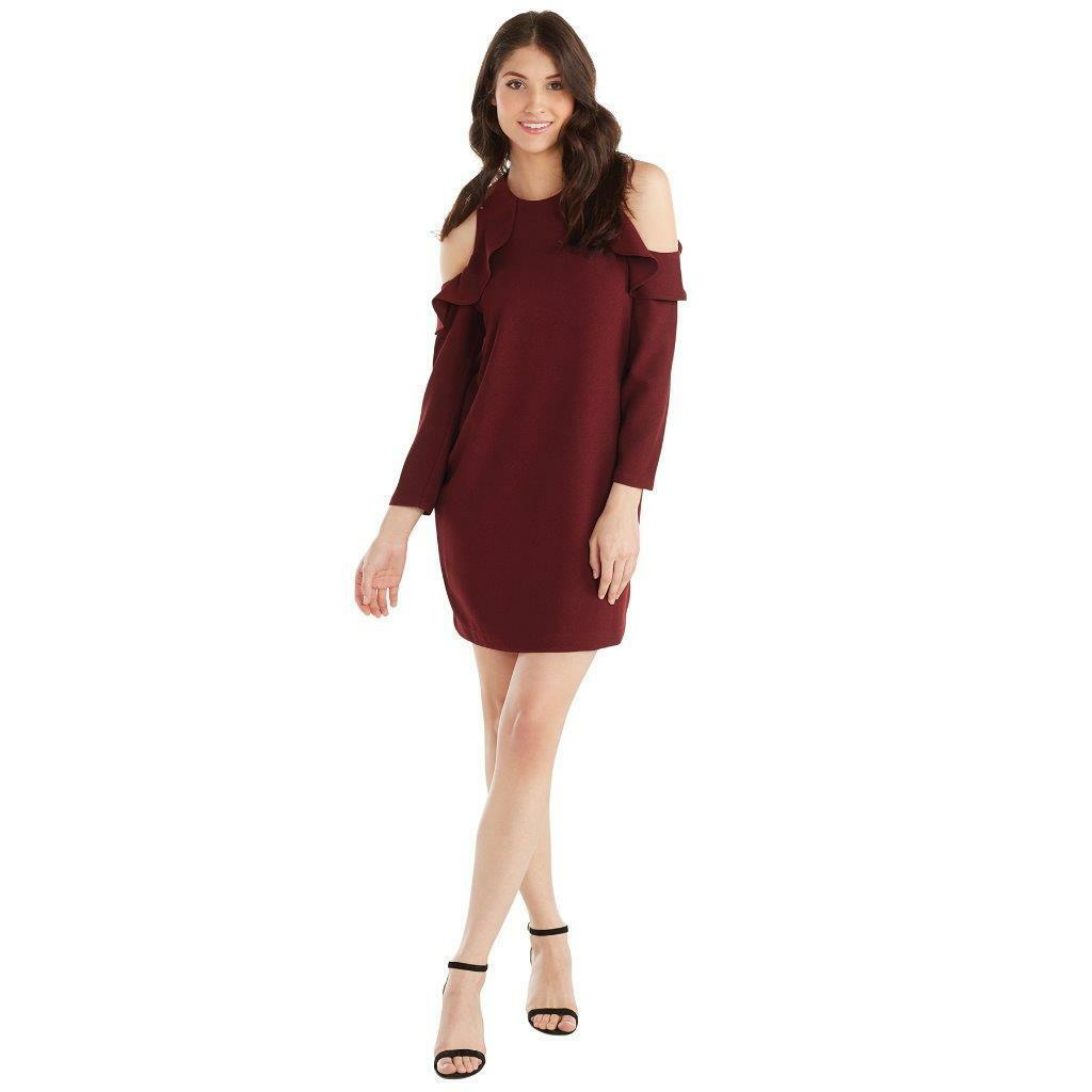 Mud Pie damen Aria Cold Shoulder Ruffle Sleeve Dress Pinot Burgundy Farbe