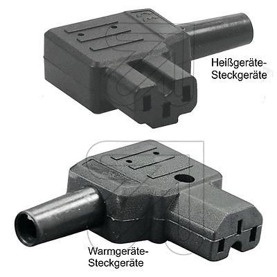 Heißgeräte-Steckgeräte Buchse 230V//10A weiß Heißgerät Kupplung Steckodse