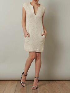 L-039-AGENCE-395-Women-039-s-Cap-Sleeve-Ivory-Metallic-Shimmer-Tweed-Sheath-Dress-Sz-8