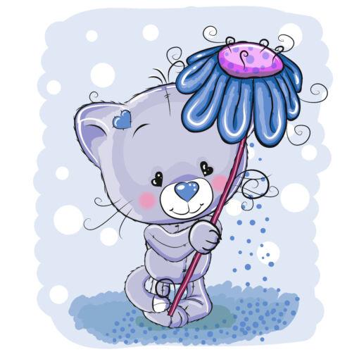 KB07 Bügelbild Bügeltransfer Aufbügler Sweet Teddy flower Blume blau DIN A4 A5