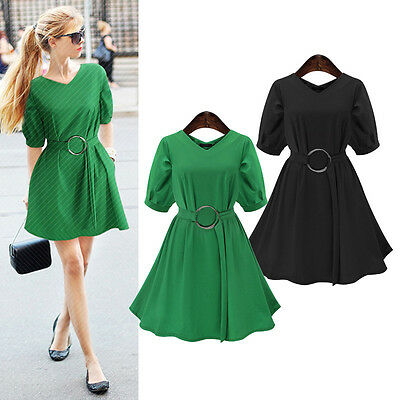 Fashion Womens Casual Short Balloon Sleeve V-neck Cocktail Short Dress Plus Size