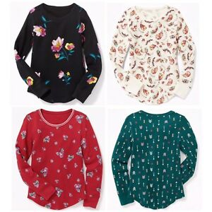 285914bd NEW OLD NAVY Thermal-Knit Scoop-Neck Tee Floral Printed Girls Size S ...