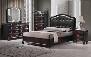 Modern 4 Pcs Bedroom Set Queen Size Espresso Headboard Leather Like Exterior