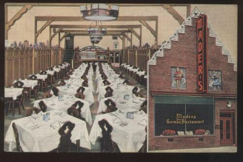 Postcard Milwaukee WI Mader's German Restaurant 1940's?