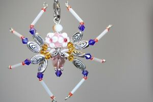 Beaded spider pink flower swarovski crystal ornament sun image is loading beaded spider pink flower amp swarovski crystal ornament mightylinksfo