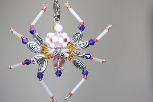 Beaded Spider Pink Flower Swarovski Crystal Ornament Sun