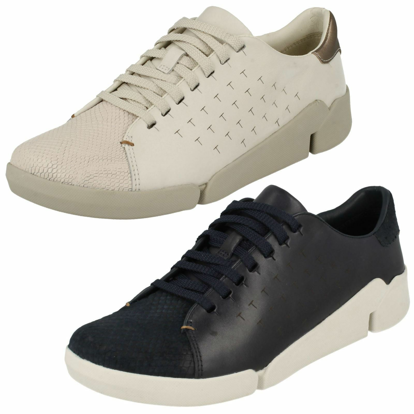 LADIES CLARKS LEATHER LACE UP CASUAL SPORTY OUTDOOR TRAINERS Schuhe TRI ABBY