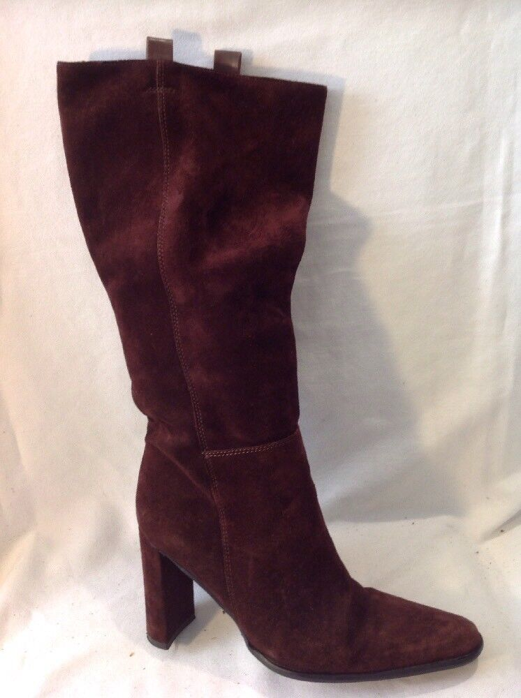 Russell&Bromley Maroon Mid Calf Suede 37 Boots Size 37 Suede 30c2e9