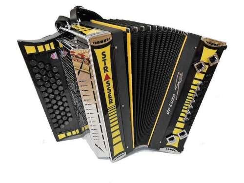 Steirische Harmonika Strasser DE Luxe SE Sondermodell schwarz//gelb G C F B
